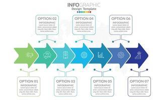 elementos de infográfico de negócios com 7 seções ou etapas vetor
