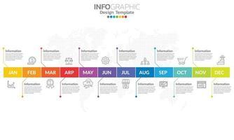 template infográfico de cronograma com 12 rótulos, 12 meses 1 ano com etapas e opções. vetor