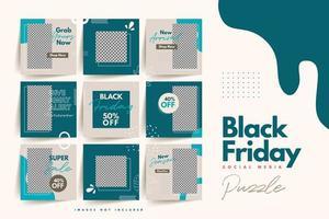 Moderno e colorido modelo de quebra-cabeça de mídia social negra sexta-feira para venda de produtos e promoção de descontos
