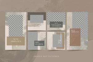 histórias de mídia social de moda minimalista e postagens vetor