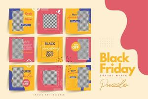 Moderno e colorido modelo de quebra-cabeça de mídia social negra sexta-feira para venda de produtos e promoção de descontos vetor