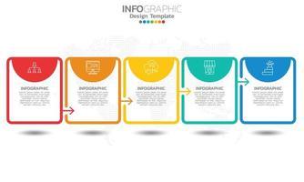 Elementos de infográfico de cronograma de negócios com 5 seções ou etapas vetor