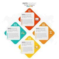 elementos de infográfico de negócios com 4 seções ou etapas vetor