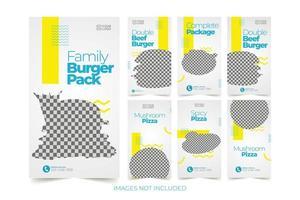 conjunto de modelos de banner de fast food para mídia social vetor
