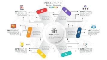 infográfico diagrama de gráfico de cores de 6 etapas, design gráfico comercial vetor