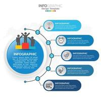 Elementos de infográfico de negócios com tema azul 5 seções ou etapas vetor