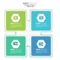 Elementos de infográfico de negócios com tema azul de 4 seções ou etapas vetor