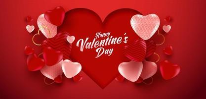 cartaz de venda do dia dos namorados ou banner com muitos corações doces e sobre fundo de cor vermelha. promoção e modelo de compra para o amor e o dia dos namorados.