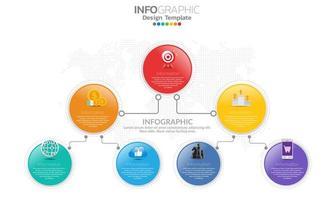 modelo de infográfico de linha do tempo com 7 partes vetor