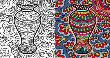 mão desenhada vaso de flores henna resumo zen emaranhado para colorir página para adultos e crianças.