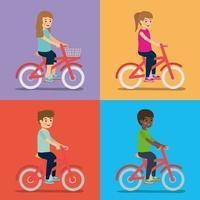 crianças andando de bicicleta
