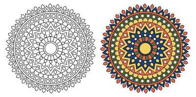 página de livro para colorir de desenho de mandala redonda ornamental para adultos e crianças vetor