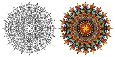 página de livro para colorir de desenho de mandala redonda ornamental para adultos e crianças