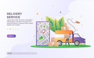 conceito de ilustração de serviço de entrega com pessoas minúsculas. entrega rápida e gratuita, distribuição logística. vetor