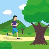 homem correndo ao ar livre vetor