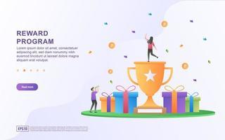 design de conceito de programa de recompensa, pessoas recebendo recompensas em dinheiro e presentes de compras online vetor