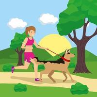 mulher passeando com os cachorros ao ar livre