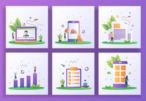 conjunto de conceito de design plano. streaming online, pagamento online, boletim informativo, investimento