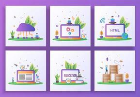 conjunto de conceito de design plano. computação em nuvem, manutenção, desenvolvimento web, e-learning vetor