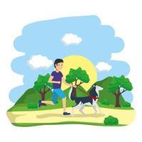 homem passeando com cachorros ao ar livre vetor