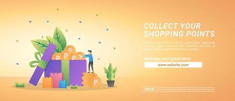 colete pontos de compras online. trocar pontos por vouchers. programa de recompensa para clientes fiéis. vetor