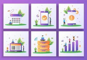 conjunto de conceito de design plano. cronograma, verificação de aplicativo, erro de aplicativo, gerenciamento, big data vetor