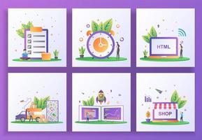 conjunto de conceito de design plano. verificação de documentos, gerenciamento de tempo, desenvolvimento web, serviço de entrega