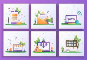 conjunto de conceito de design plano. marketing digital, marketing por e-mail, site, marketing estratégico vetor