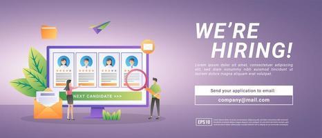 recrutamento online. empresários abrem o recrutamento de funcionários. vetor