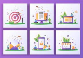 conjunto de conceito de design plano. segmentação, notícias de última hora, estamos contratando, enviar e-mail, marketing digital