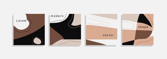 conjunto de vetores de fundos mínimos com formas orgânicas abstratas, linha de desenho de mão e texto de exemplo. colagem contemporânea. capa minimalista elegante para design de marca