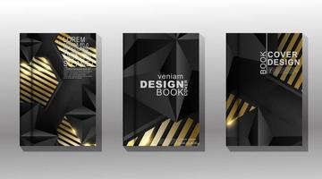 luxuoso conjunto de design de capa geométrica em ouro e preto vetor