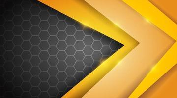 vetor abstrato. fundo geométrico amarelo sobreposto à camada hexagonal preta