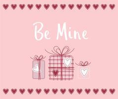 Seja meu design de cartão de namorados vetor