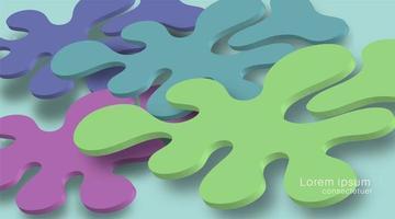 sobreposição de designs de fundo fluido e sombras realistas. Ilustração vetorial 3d