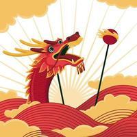dança do dragão do ano novo chinês vetor