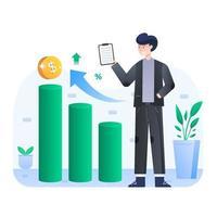 empresário verifica se sua renda aumentou vetor