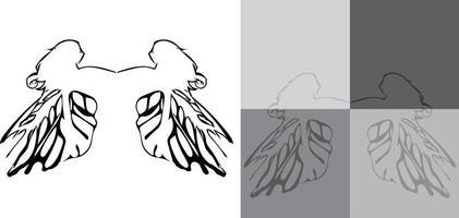 padrão de asas de anjo em fundos cinza com uma silhueta de asas de anjo