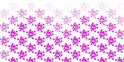 padrão de vetor roxo claro com elementos de coronavírus.