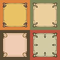 Vintage Art Nouveau Frames Estilo de bordas decorativas Elementos vetor