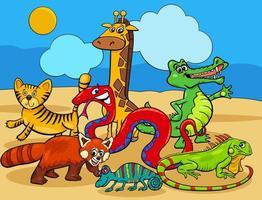 grupo de personagens de desenhos animados de animais selvagens vetor