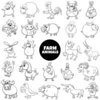 Grande conjunto de personagens de animais de fazenda em preto e branco