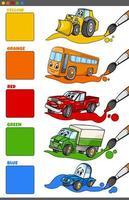 cores básicas definidas com personagens de desenhos animados de veículos vetor