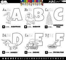 letras do alfabeto educacional de desenho animado definido de a a f livro para colorir