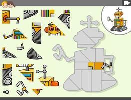 jogo de quebra-cabeça com personagem de fantasia de robô vetor