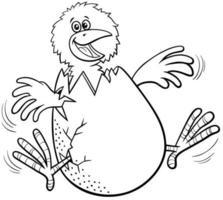 desenho animado pintinho nascendo da página do livro para colorir de ovo vetor