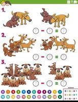 tarefa educacional de subtração matemática com cães cômicos vetor