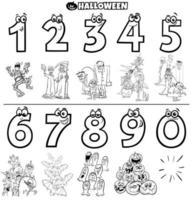 números educacionais com livro de cores de personagens de halloween vetor