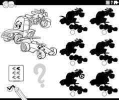 página de livro de colorir educacional de sombras com veículos