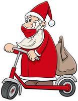 desenho animado do papai noel em uma scooter elétrica no natal